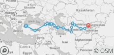 Silk Route between Istanbul and Tashkent (Istanbul to Tashkent) - 20 destinations