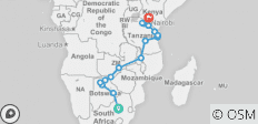 Johannesburg to Nairobi Overland: Waterfalls & Beaches - 16 destinations