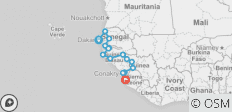 West Africa between Dakar and Freetown (Dakar to Freetown) - 15 destinations