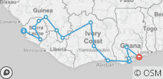 West Africa between Freetown and Accra (Freetown to Accra - 2018) - 16 destinations