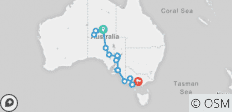 Down South & Outback (ex. Alice Springs) 2018-19 (Melbourne ) - 19 destinations