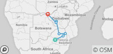 Kruger and Victoria Falls Accommodated (7 destinations) - 7 destinations