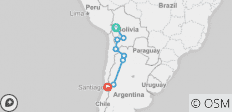 La Paz to Santiago - 8 destinations