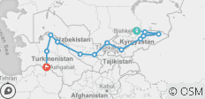 Bishkek to Ashgabat Overland - 13 destinations