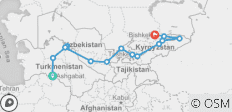 Ashgabat to Bishkek - 14 destinations