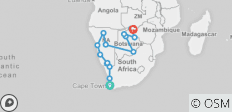Cape Town to Victoria Falls Adventure - 14 destinations