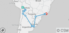 Journey from Bolivia to Brazil - 15 destinations