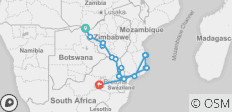 Mozambique and Zimbabwe Explorer Southbound - 18 destinations