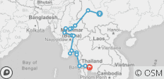 South East Asia between Kunming and Bangkok via Myanmar - 16 destinations