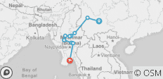 South East Asia between Kunming and Yangon via Myanmar - 10 destinations