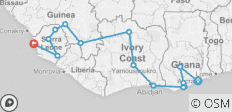 West Africa between Freetown and Accra (Accra to Freetown - 2018) - 14 destinations