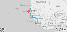 West Africa between Dakar and Freetown (Freetown to Dakar) - 7 destinations