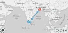 Southern India & East Coast by Rail - 8 destinations