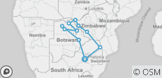 Zimbabwe & Botswana Game Tracker - 11 destinations