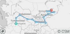 Central Asia 5 Stans Group Overland Tour - 12 destinations