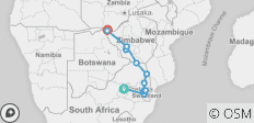 Safari, Swazi & Zim - 14 destinations