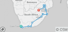 Johannesburg to Cape Town - Reverse - 29 destinations