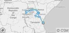 Game Parks and Gorillas Accommodated (from Nairobi to Dar es Salaam) - 21 destinations