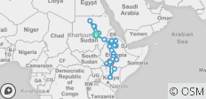 Nile Route between Khartoum and Arba Minch (Khartoum to Arba Minch) - 32 destinations