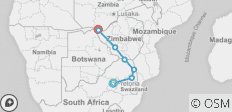 Kruger to Vic Falls (from Pretoria to Livingstone) - 7 destinations