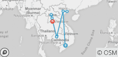 Vietnam Cambodia Laos Simple Tour 13Days/12Nights - 15 destinations