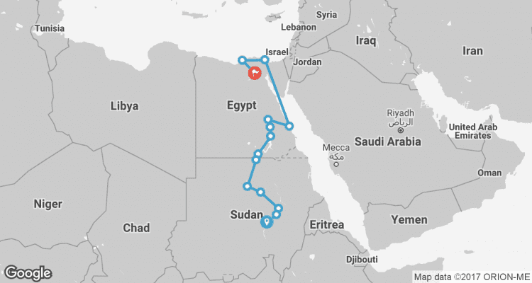 Nile Route between Cairo and Khartoum Cairo to Khartoum by