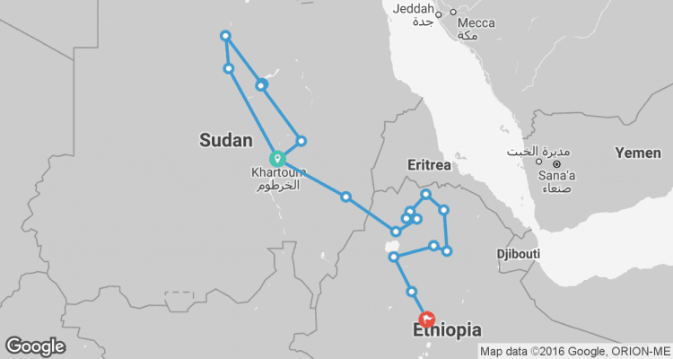 Nile Route between Khartoum and Addis Ababa Khartoum to Addis Ababa