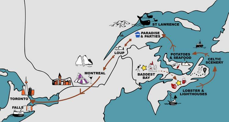 Map Of Canada Eastern Provinces.Haligonia To Central 12 13 Day Adventure Central Eastern