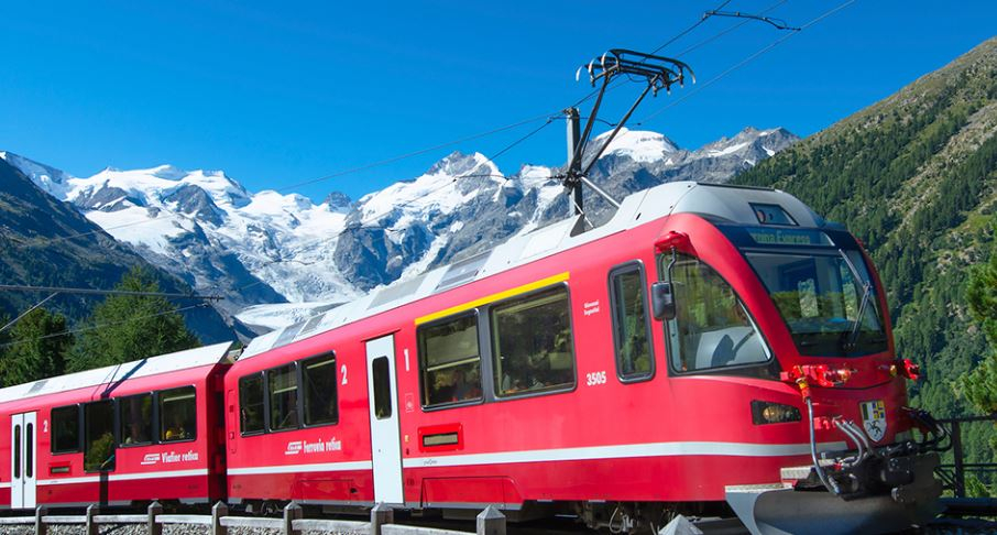 Scenic Train Travel In Switzerland